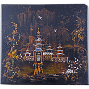 Late 18th / early 19th century Chinoiserie European papier mache lacquered panel inset with mo