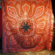 SALE Circa 1860 Antique Civil War era Kashmir embroidered paisley shawl