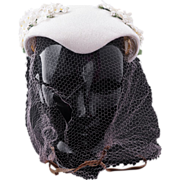 Vintage 1950s women's white straw wrap around cocktail hat with flowers and veil