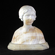 SALE Italian white marble bust of young woman on an alabaster base circa 1910