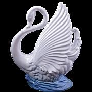 Maddux ceramic white swan TV lamp circa 1950