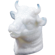 Atterbury's molded opalescent glass bulls head mustard circa 1888
