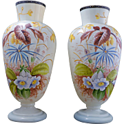 Pair of large pale yellow hand painted Bristol glass vases with floral designs late 19th ...