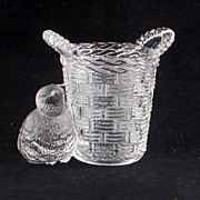 SOLD Antique Victorian Pressed Glass Match holder of a Basket and Chick c1900