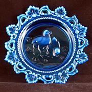 REDUCED Victorian blue opalesque glass fancy edge child's plate circa 1910