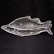 REDUCED Early American Pressed Glass (EAPG) Atterbury Clear Double Fish Pickle Dish – 1872
