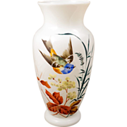 REDUCED Large white Bristol glass vase with a hand painted design of a flying bird ...
