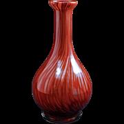 "Vintage labeled maroon  7 3/4"" Murano glass vase with swirled metallic design c 1960"