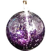 Hand-blown Purple Art glass oil lamp 20th C