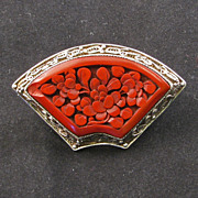 Chinese silver and cinnabar lacquer fan shaped pin ca 1900