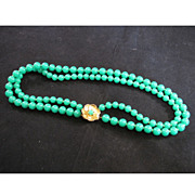 Bill Blass Chinese faux jade double strand necklace with gilt clasp 1980s
