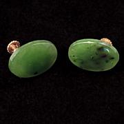 REDUCED Gilt metal screw back spinach jade earrings c 1940's