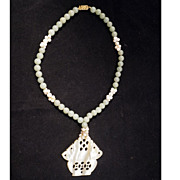REDUCED Chinese pale green jade, cultured pearl, coral and carved mother of pearl necklace
