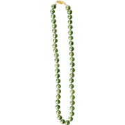 "Vintage Chinese spinach green nephrite jade 18"" 48-bead necklace"