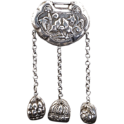 Chinese silver spirit lock pendant with dangling bells 19th century