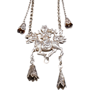 Chinese Silver Pendant with Chilin and Rider 19th century