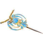 Chinese Kingfisher Feather Gilded Hairpin of a Butterfly Design Circa 1900