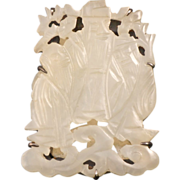 REDUCED Chinese pale green jade carved and filigree plaque mounted in a sterling clothing clip