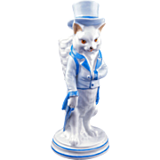 Antique German porcelain figure of gentleman cat match holder late 19th century