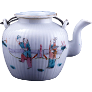 Chinese porcelain ribbed teapot with over glaze enamels circa 1900