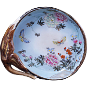 Japanese porcelain dish in the shape of a peach with hand painted design circa 1930