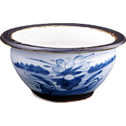 Small Chinese porcelain Canton ware blue and white bowl with iron glaze rim 19th century