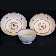 REDUCED Three piece set of matching Qianlong era 18th century export tea cup and saucers ...
