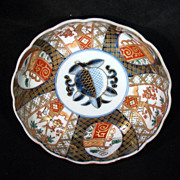 "REDUCED Meiji Period Japanese Imari fluted 6"" bowl with blue peach in center c. 1900"