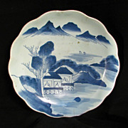 REDUCED Large Chinese Blue and White Charger with Landscape Late 19th Century