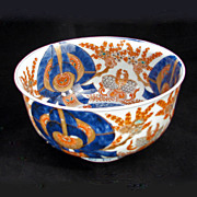 REDUCED Deep Japanese Porcelain Imari Bowl with Moths and Floral 19th Century