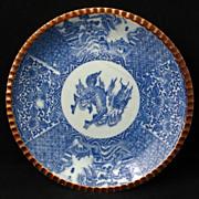 REDUCED Meiji Period Japanese Transferware Blue & White Porcelain Igezara plate with Kirin ...