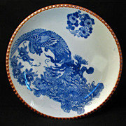 SALE Large Meiji Japanese Transferware Igezara Blue and White Porcelain Charger with Phoenix