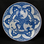 REDUCED Large Igezara blue and white Japanese porcelain charger of three winter friends ca 190
