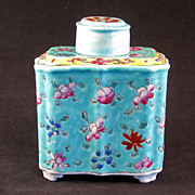REDUCED Chinese export porcelain tea caddy Republic Period ca 1900