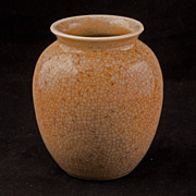 REDUCED Small late Qing Chinese porcelain vase with a crackled silkworm glaze