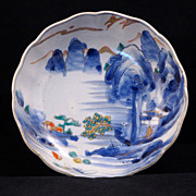REDUCED Late Edo (1820-1860) Japanese porcelain Imari bowl of waterfall and mountain scene