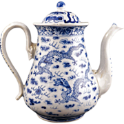 REDUCED Chinese porcelain export blue and white coffeepot or large teapot with dragon design .