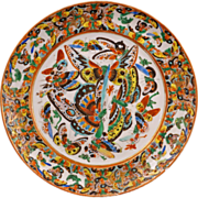 REDUCED Chinese hundred butterfly over glaze enamel export porcelain plate 19th century