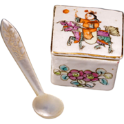Chinese export over glaze enamel porcelain lidded salt with matching mother of pearl spoon ...