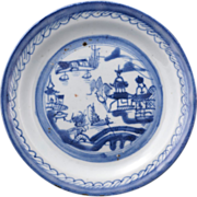 Canton ware export Chinese porcelain blue and white hand painted and thrown bread and butter .