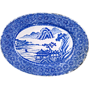 Blue and white stenciled Japanese Igezara porcelain oval platter circa 1900