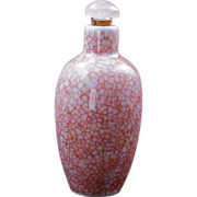 Chinese fine crackle red tint glaze porcelain snuff bottle circa 1900