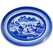 """Antique Chinese Canton export porcelain blue and white 14 ½"""" platter circa 1790 – 1840"""