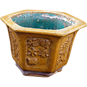 Early 20th Century Chinese ceramic hexagonal flower pot with floral panel decorations