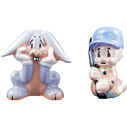 Ceramic Elmer Fudd and Bugs Bunny figurines by Evan K Shaw Warner Brothers circa 1947