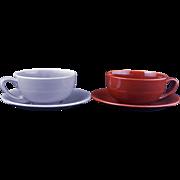 Pair of Mid-century Vernonware ceramic coffee/tea cups and saucers Casual California pattern c