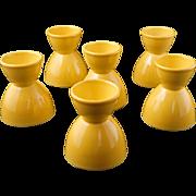 Set of 6 Mid century Vernonware acacia yellow ceramic eggcups Casual California pattern c 1953
