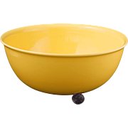 "Mid-century Vernonware large 10 ¼"" diameter acacia yellow ceramic mixing bowl Casual Califo"