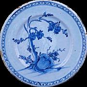 Dutch Delft tin glaze plate blue and white Kangxi style 18th century