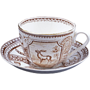 Aesthetic Movement Charles Allerton & Sons Stag pattern transfer ware child's cup and saucer